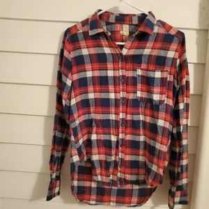 Red white and blue plaid button-up
